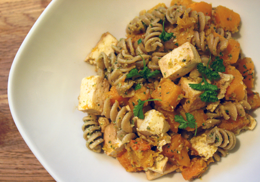 Parsley Sage Pesto with Butternut Squash and Tofu